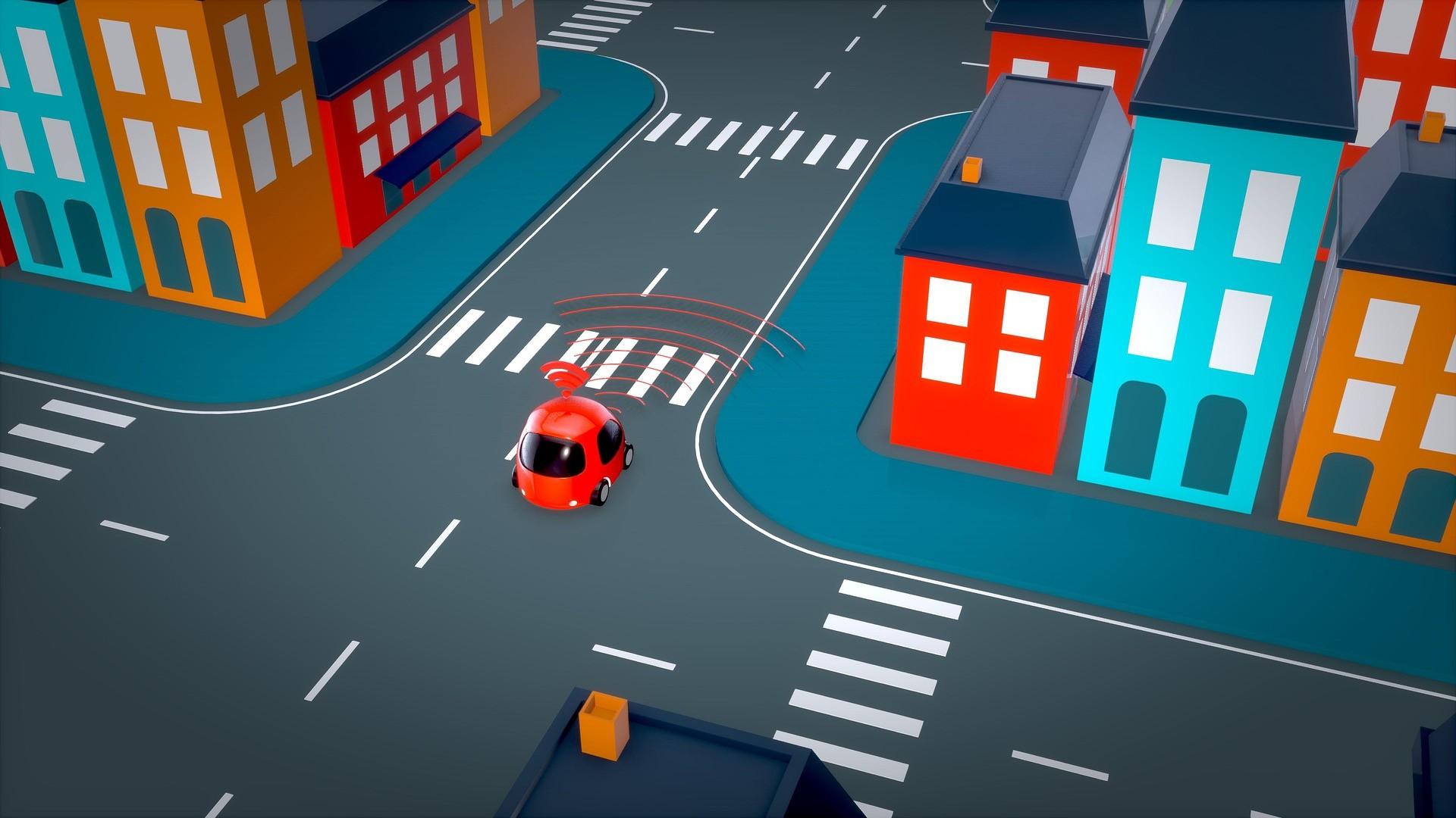 crossroad with a car transmitting a signal