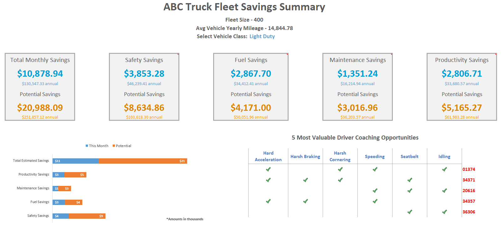 fleet savings summary