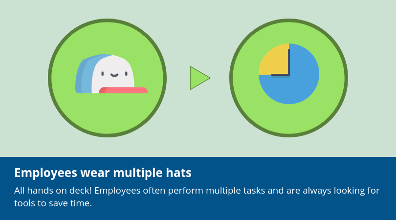 Small business employees wear multiple hats