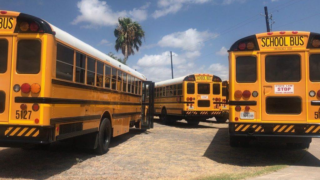 school buses parking